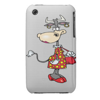 silly lady cow shopping shopper cartoon character iPhone 3 case