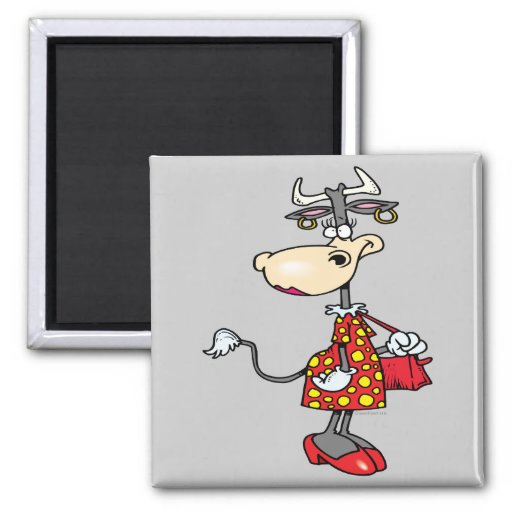 silly lady cow shopping shopper cartoon character magnet