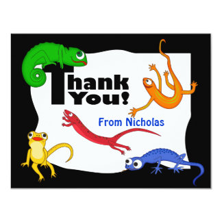 Silly Leaping Lizard Thank You Note 4.25x5.5 Paper Invitation Card