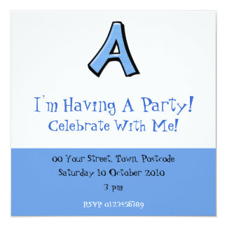 Silly Letter A blue Party Invitation