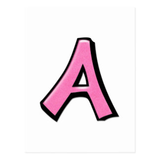 Silly Letter A pink Postcard