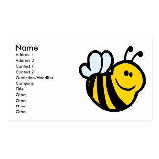 silly little bumble bee smiling cartoon character business cards