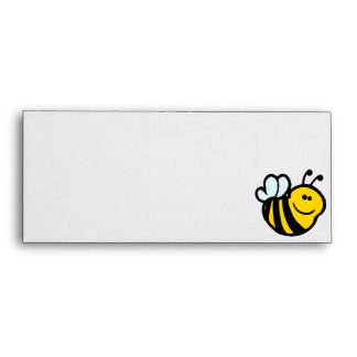 silly little bumble bee smiling cartoon character envelope