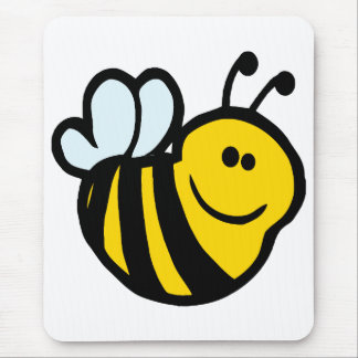silly little bumble bee smiling cartoon character mouse pad