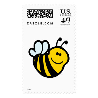 silly little bumble bee smiling cartoon character stamp