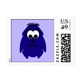 Silly Little Dark Blue Violet Monster Postage Stamps