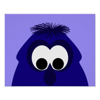 Silly Little Dark Blue Violet Monster Posters
