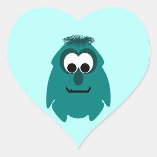 Silly Little Dark Cyan Monster Heart Sticker