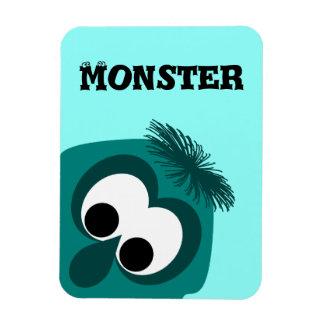 Silly Little Dark Cyan Monster Rectangular Magnet
