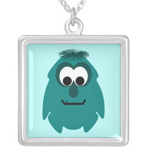 Silly Little Dark Cyan Monster Square Pendant Necklace