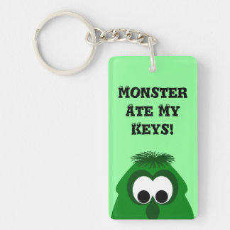Silly Little Dark Green Monster Double-Sided Rectangular Acrylic Keychain