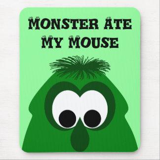 Silly Little Dark Green Monster Mousepads