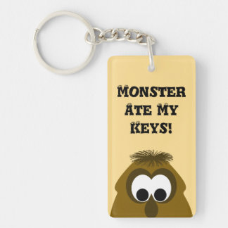 Silly Little Dark Orange Monster Double-Sided Rectangular Acrylic Keychain