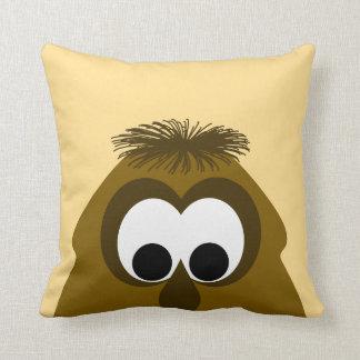 Silly Little Dark Orange Monster Throw Pillow