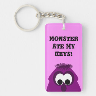 Silly Little Dark Pink Monster Double-Sided Rectangular Acrylic Keychain