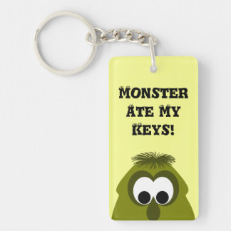 Silly Little Dark Yellow Monster Double-Sided Rectangular Acrylic Keychain
