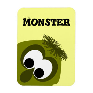 Silly Little Dark Yellow Monster Rectangular Magnets
