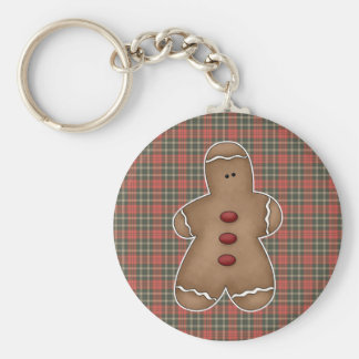 silly little gingerbread cookie basic round button keychain