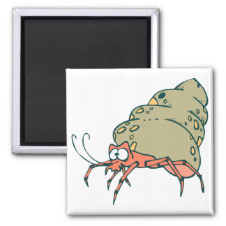 silly little hermit crab 2 inch square magnet