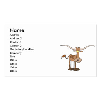 silly longhorn cow cartoon character business card template