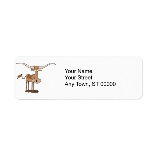 silly longhorn cow cartoon character label