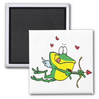 silly love cupid valentine froggy frog 2 inch square magnet
