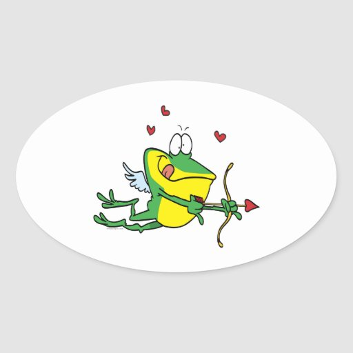 silly love cupid valentine froggy frog oval stickers