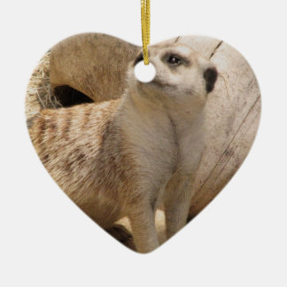 Silly Meerkat Double-Sided Heart Ceramic Christmas Ornament
