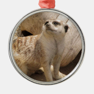 Silly Meerkat Round Metal Christmas Ornament