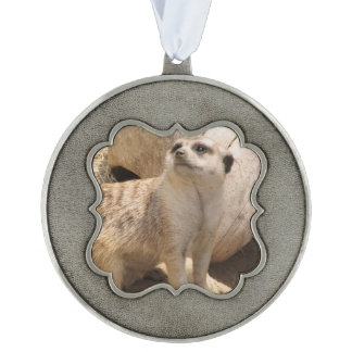Silly Meerkat Scalloped Pewter Christmas Ornament