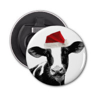 Silly Milk Cow with Santa HaT Button Bottle Opener