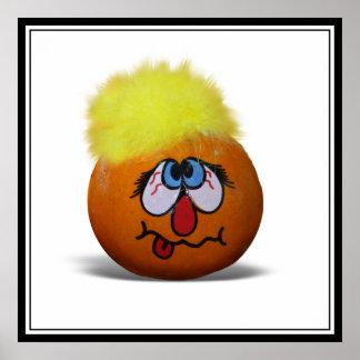Silly Mini Pumpkin Face Poster