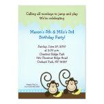 Silly Monkey Birthday Invitation 5x7 - Blue