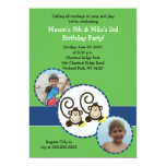 Silly Monkey GREEN Photo Birthday Invitation 5x7