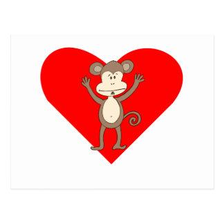 Silly Monkey Heart Postcard