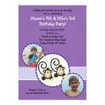 Silly Monkey PURPLE Photo Birthday Invitation 5x7