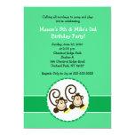 Silly Monkey Trendy 2 children Birthday invitation