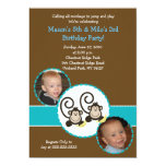 Silly Monkey Trendy Photo Birthday Invitation 5x7