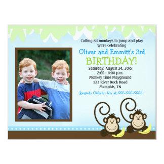Silly Monkey Twins Photo Birthday Invite