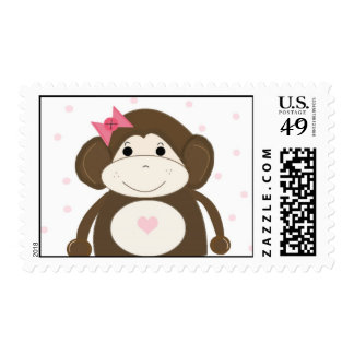 Silly Monkey with a Pink Hair Bow Postage Stamp