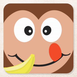 Silly Monkey With Banana Square Paper Coaster