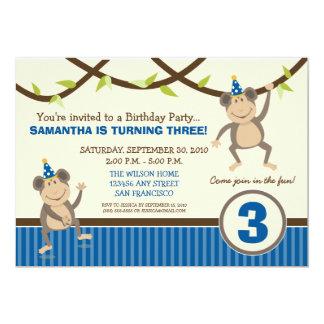 Silly Monkeys Birthday Party Invitation (blue)
