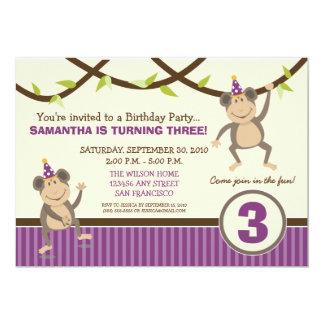 Silly Monkeys Birthday Party Invitation (lavender)