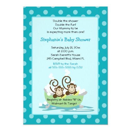 Silly Monkeys in Tub Twins Baby Shower - Aqua Card