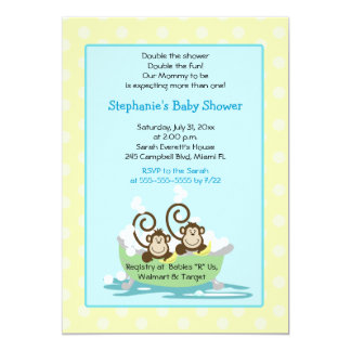 Silly Monkeys in Tub Twins Baby Shower - Yellow Card