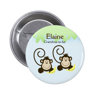SILLY MONKEYS NAME TAG Personalized Button