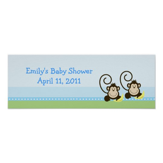 Silly Monkeys Twin Customizable Birthday Banner Poster