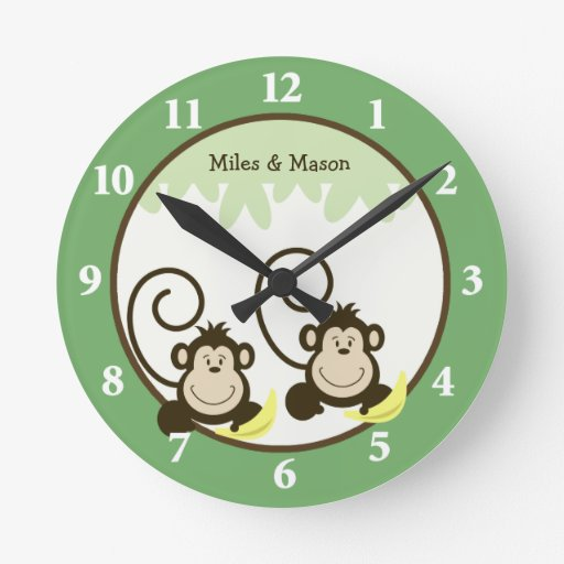 Silly Monkeys Twins Wall Clock - Green