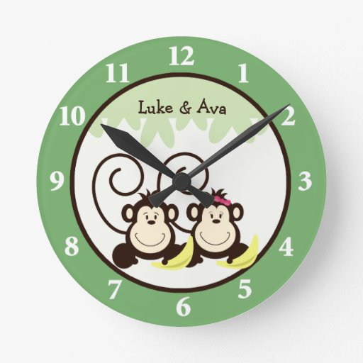 Silly Monkeys Wall Clock - Boy and Girl Monkey