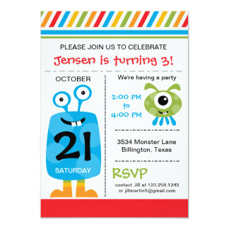 Silly Monster Birthday Party Invitation